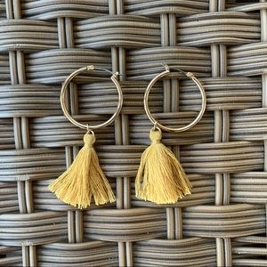 Gold Hoop Fringe Earrings